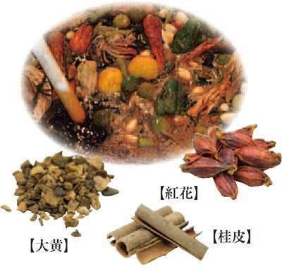 大黄葉末、桂皮末、紅花末の和漢植物を配合